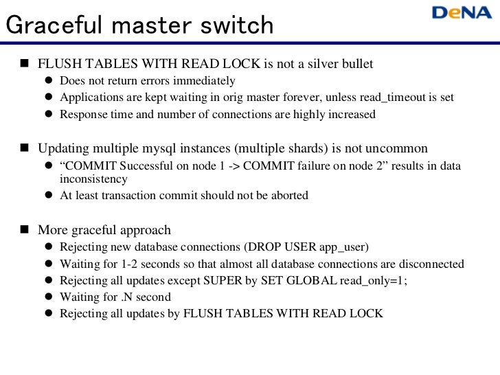 Graceful master switch  FLUSH TABLES WITH READ LOCK is not a silver bullet      Does not return errors immediately     ...