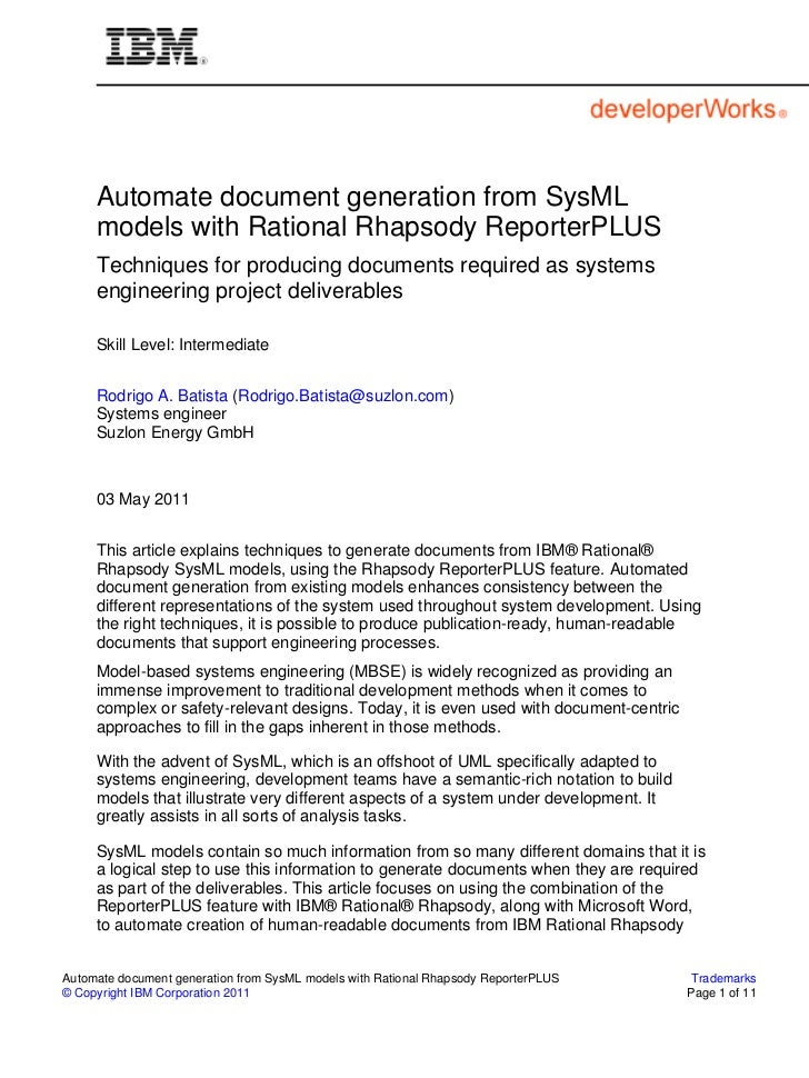 Automate document generation from SysML     models with Rational Rhapsody ReporterPLUS     Techniques for producing docume...