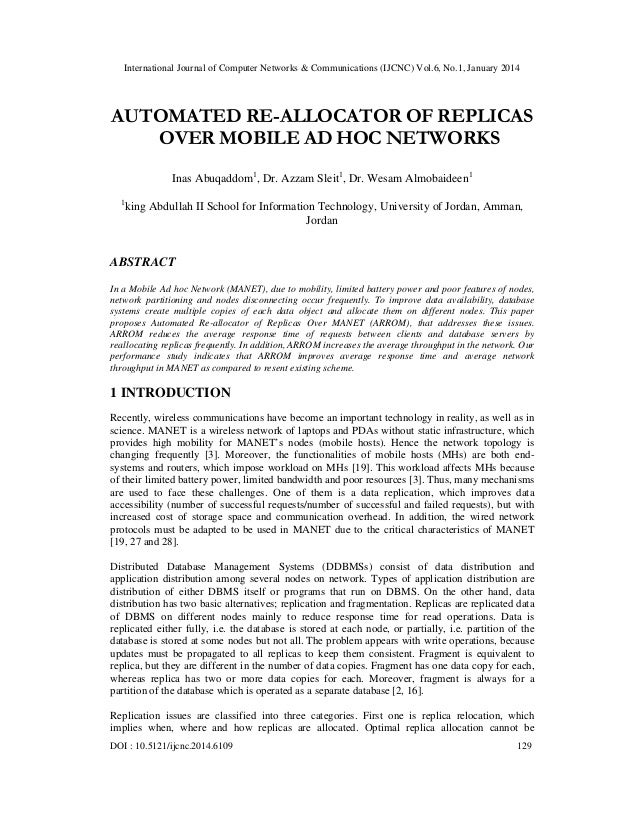 International Journal of Computer Networks & Communications (IJCNC) Vol.6, No.1, January 2014  AUTOMATED RE-ALLOCATOR OF R...
