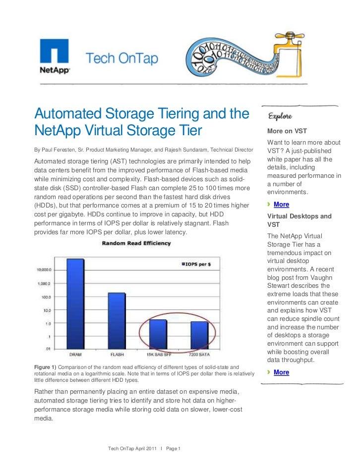 Automated Storage Tiering and theNetApp Virtual Storage Tier                                                              ...