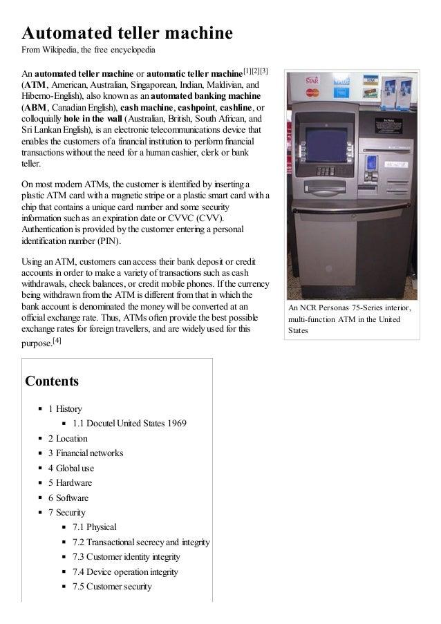 Automated teller machine wikipedia, the free encyclopedia