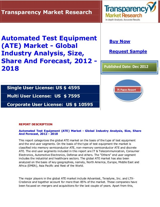 Transparency Market ResearchAutomated Test Equipment                                               Buy Now(ATE) Market - G...