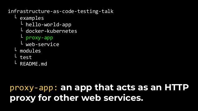 infrastructure-as-code-testing-talk └ examples └ modules └ test └ hello_world_app_test.go └ docker_kubernetes_test.go └ pr...