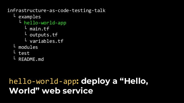 infrastructure-as-code-testing-talk └ examples └ modules └ test └ hello_world_app_test.go └ README.md Create hello_world_a...