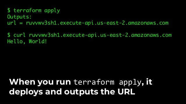 "func TestHelloWorldAppUnit(t *testing.T) { terraformOptions := &terraform.Options{ TerraformDir: ""../examples/hello-world-..."