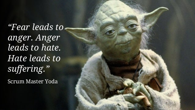 """""""Fear leads to anger. Anger leads to hate. Hate leads to suffering."""" Scrum Master Yoda"""