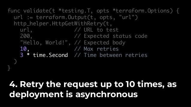 $ go test -v -timeout 15m -run TestHelloWorldAppUnit … --- PASS: TestHelloWorldAppUnit (31.57s) Then run go test. You now ...