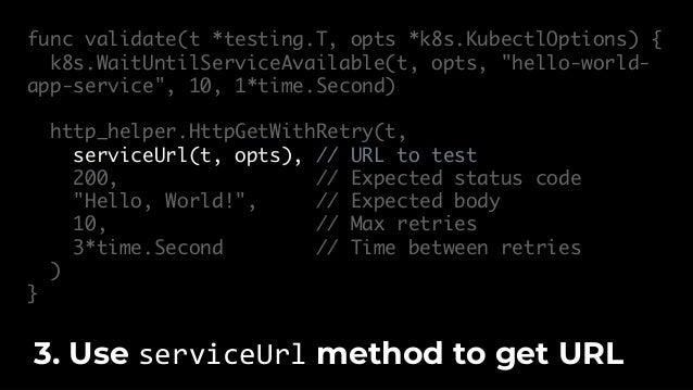 $ go test -v -timeout 15m -run TestDockerKubernetes … --- PASS: TestDockerKubernetes (5.69s) Run go test. You can validate...