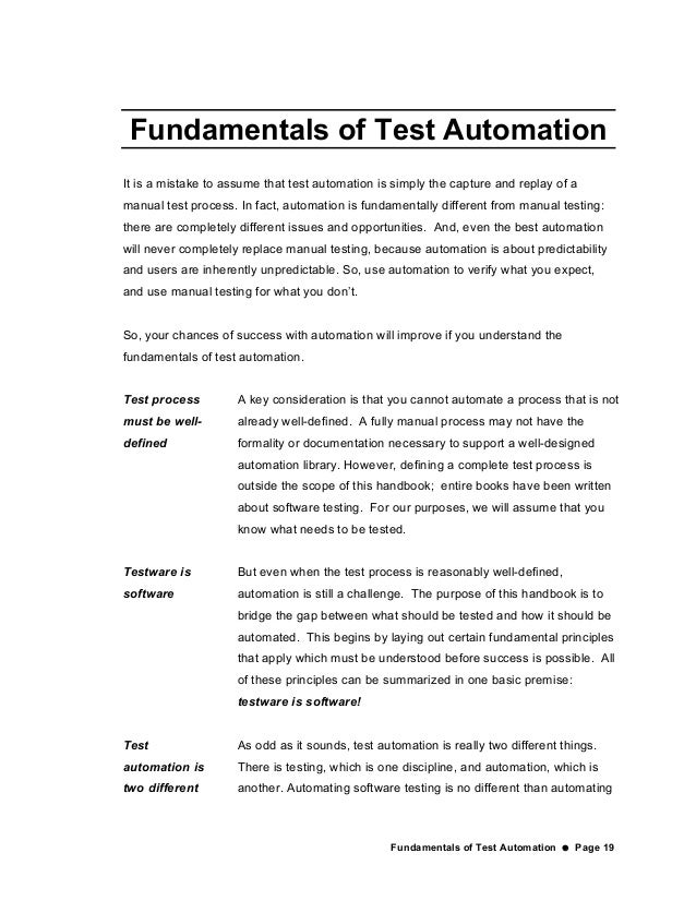 the automated testing handbook essay Free essay: the automated testing handbook by linda g hayes the automated testing handbook the automated testing handbook about the author introduction why.
