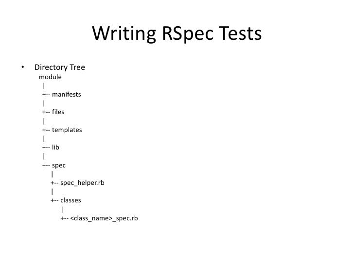 Writing RSpec Tests•   Directory Tree     module      |      +-- manifests      |      +-- files      |      +-- templates...