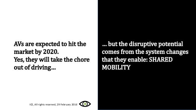 AVs are expected to hit the market by 2020. Yes, they will take the chore out of driving… … but the disruptive potential c...