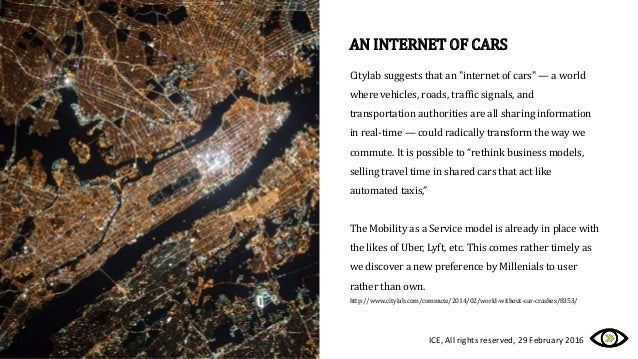 """Citylab suggests that an """"internet of cars"""" — a world where vehicles, roads, traffic signals, and transportation authoriti..."""