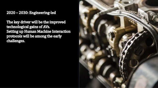 2020 – 2030: Engineering-led The key driver will be the improved technological gains of AVs. Setting up Human Machine Inte...