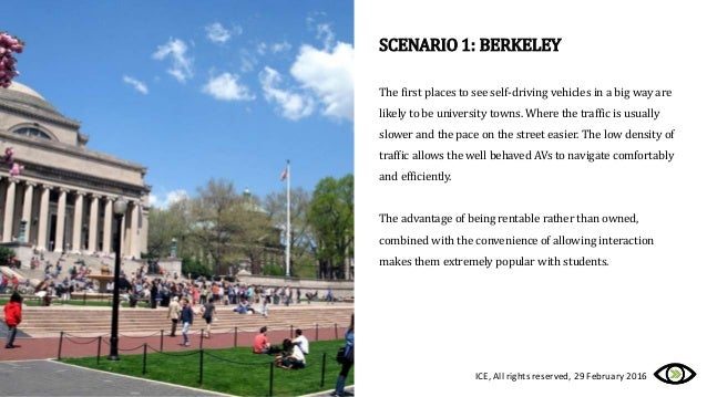 SCENARIO 1: BERKELEY The first places to see self-driving vehicles in a big way are likely to be university towns. Where t...
