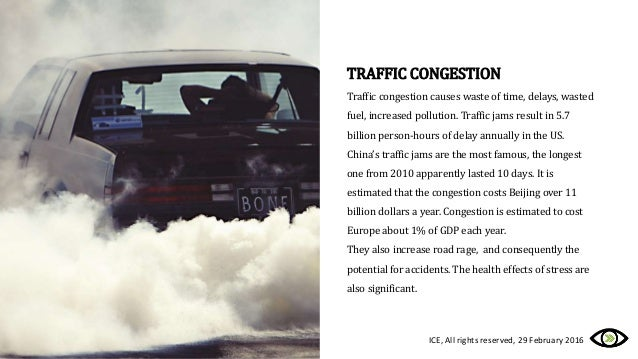 TRAFFIC CONGESTION Traffic congestion causes waste of time, delays, wasted fuel, increased pollution. Traffic jams result ...