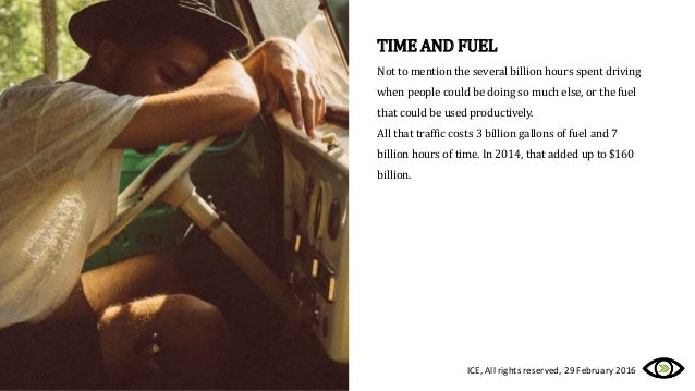 TIME AND FUEL Not to mention the several billion hours spent driving when people could be doing so much else, or the fuel ...
