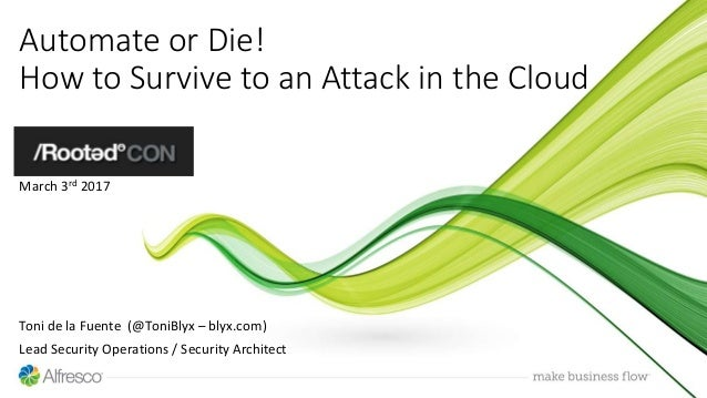 Automate or Die! How to Survive to an Attack in the Cloud March 3rd 2017 Toni de la Fuente (@ToniBlyx – blyx.com) Lead Sec...