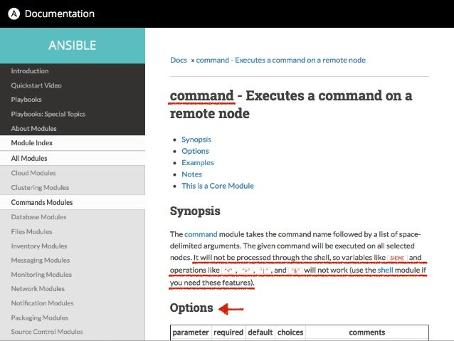 Docs » commands Modules 有 yes 就⼀一定要⽤用
