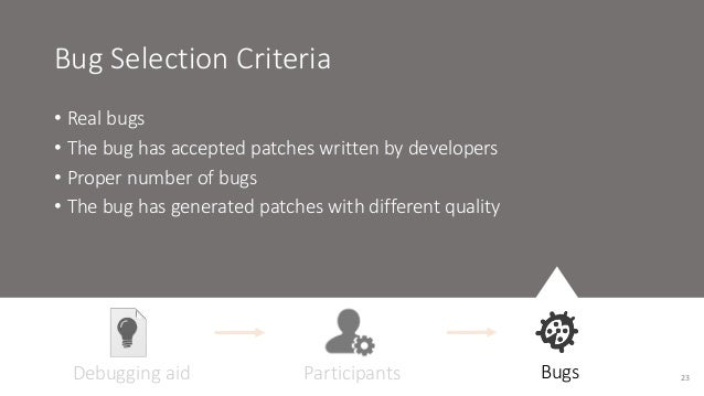 Bug Selection Criteria  • Real bugs  • The bug has accepted patches written by developers  • Proper number of bugs  • The ...