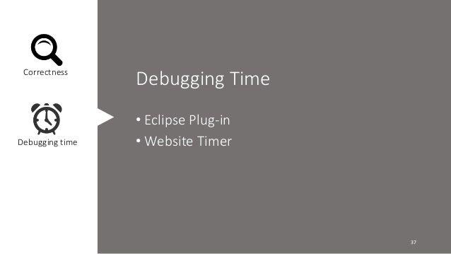 Debugging Time  • Eclipse Plug-in  •Website Timer  Correctness  Debugging time  37