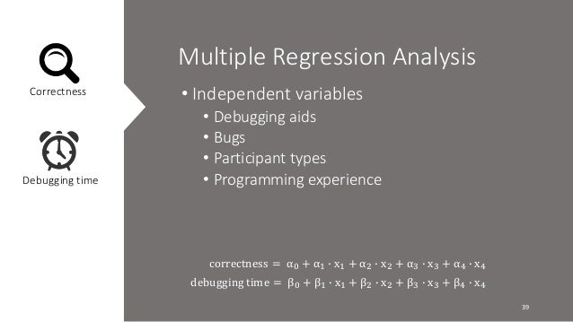 Multiple Regression Analysis  Correctness  Debugging time  • Independent variables  • Debugging aids  • Bugs  • Participan...