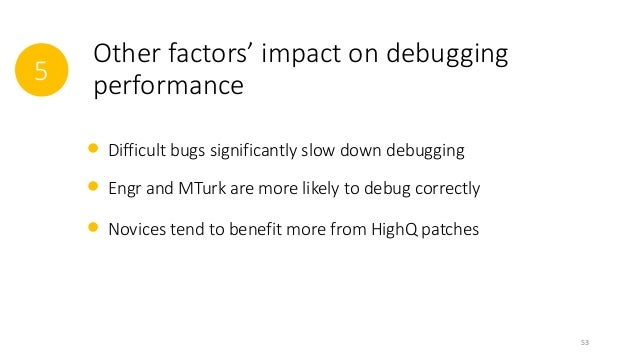 5  Other factors' impact on debugging  performance  Difficult bugs significantly slow down debugging  Engr and MTurk are m...