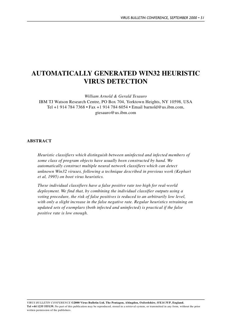VIRUS BULLETIN CONFERENCE, SEPTEMBER 2000 • 51        AUTOMATICALLY GENERATED WIN32 HEURISTIC               VIRUS DETECTIO...