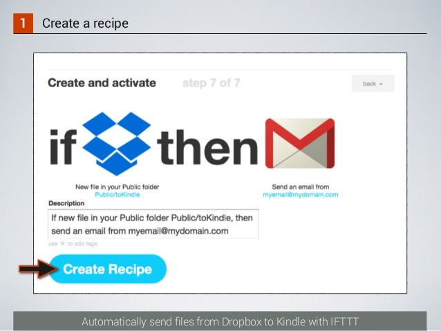 Automatically send files from Dropbox to Kindle with IFTTT