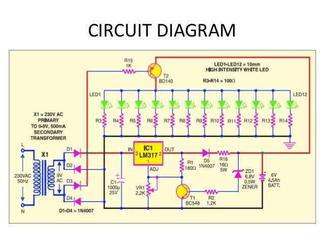 Automatic emergency light using led ppt rechargeable battery 5 circuit diagram ccuart Image collections