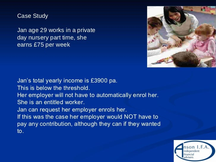 Case Study Jan age 29 works in a private day nursery part time, she earns £75 per week Jan's total yearly income is £3900 ...