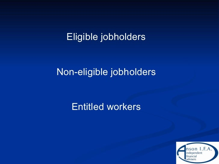 Eligible jobholders Non-eligible jobholders Entitled workers