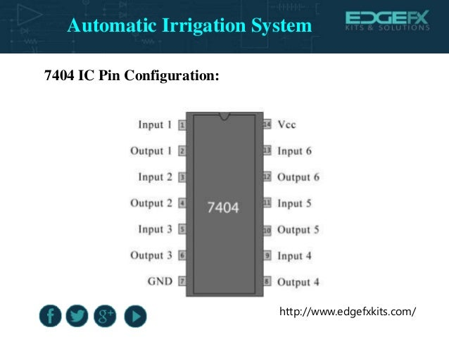 http://www.edgefxkits.com/ 7404 IC Pin Configuration: Automatic Irrigation System