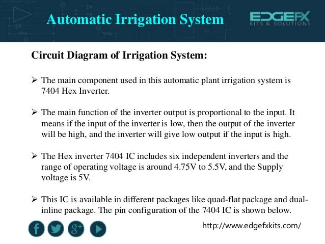 http://www.edgefxkits.com/ Circuit Diagram of Irrigation System:  The main component used in this automatic plant irrigat...