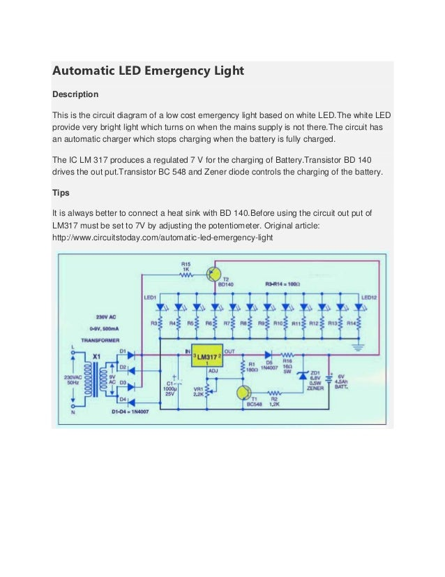 Automatic led emergency light automatic led emergency lightdescriptionthis is the circuit diagram of a low cost emergency light based on ccuart Image collections