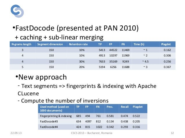 Algorithms for candidate selection 22.09.13 12 •FastDocode (presented at PAN 2010) + caching + sub-linear merging •New app...