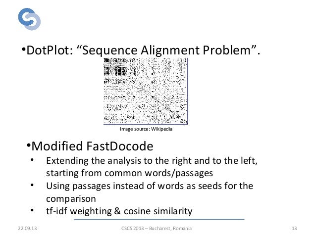 """Algorithms for detailed analysis 22.09.13 13 •DotPlot: """"Sequence Alignment Problem"""". •Modified FastDocode • Extending the ..."""