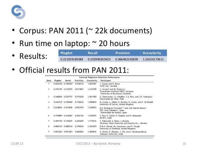 Results 22.09.13 15 • Corpus: PAN 2011 (~ 22k documents) • Run time on laptop: ~ 20 hours • Results: • Official results fr...