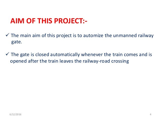 unmanned railway gate Abstract aim of this project is control the unmanned rail gate automatically using embedded platform today often we see news papers very often about the railway.