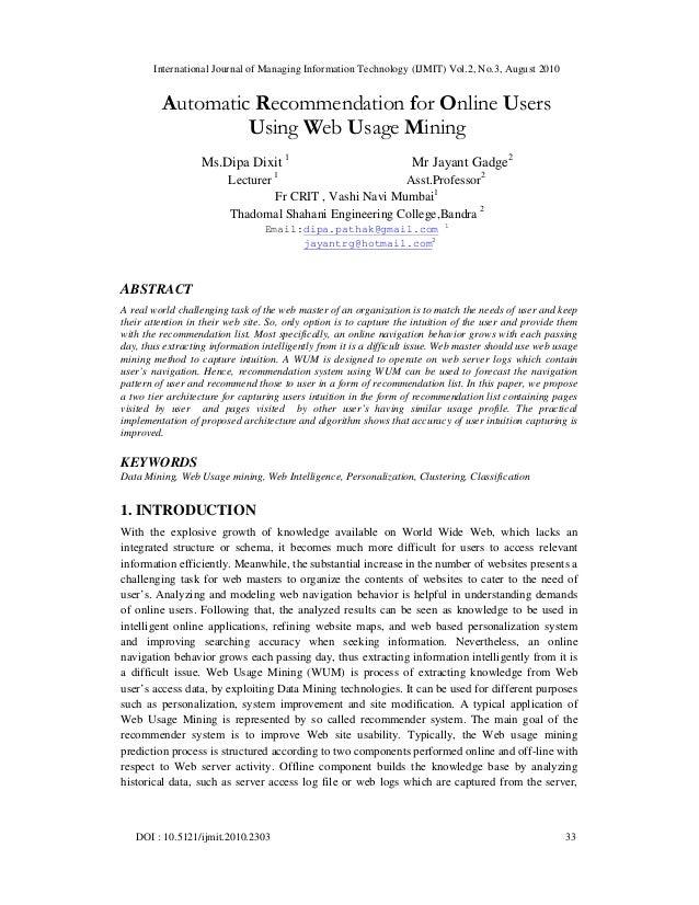 International Journal of Managing Information Technology (IJMIT) Vol.2, No.3, August 2010 DOI : 10.5121/ijmit.2010.2303 33...