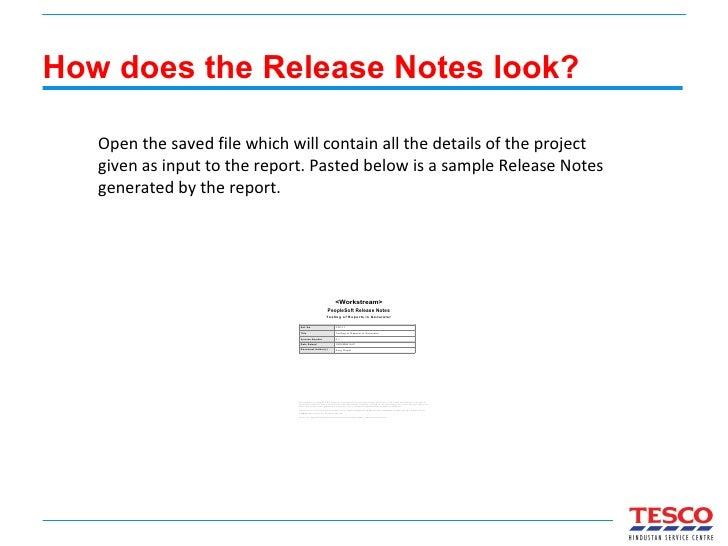 Release Notes generation using XML Publisher