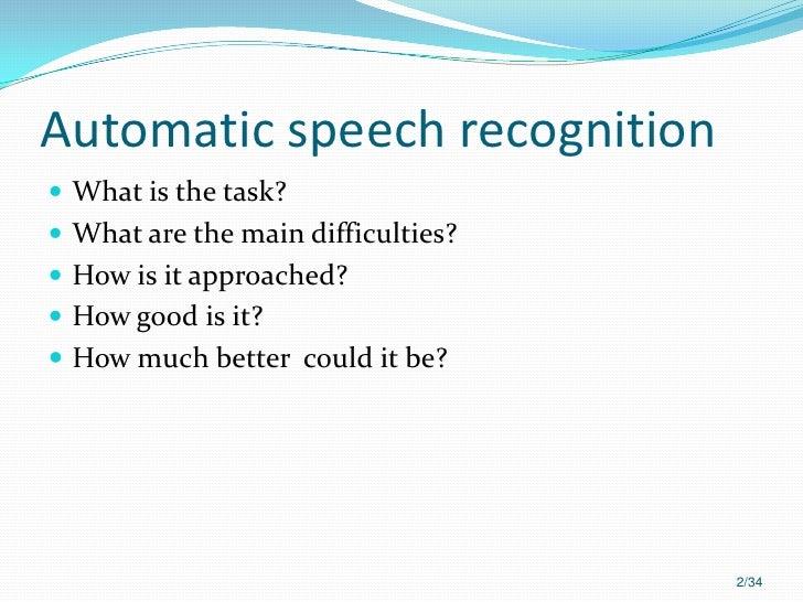 Automatic speech recognition Slide 2