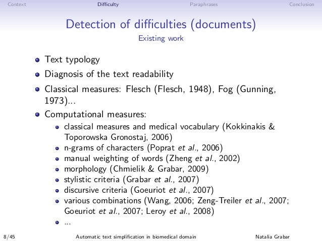 Context Difficulty Paraphrases Conclusion Detection of difficulties (documents) Existing work Text typology Diagnosis of the t...