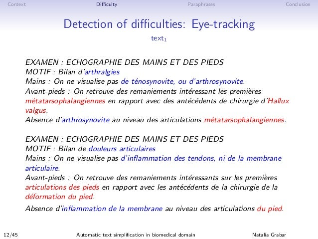 Context Difficulty Paraphrases Conclusion Detection of difficulties: Eye-tracking text1 EXAMEN : ECHOGRAPHIE DES MAINS ET DES ...
