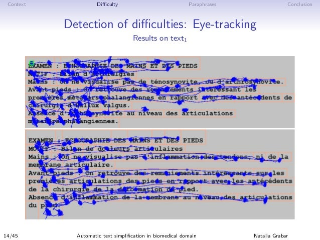 Context Difficulty Paraphrases Conclusion Detection of difficulties: Eye-tracking Results on text1 14/45 Automatic text simpli...