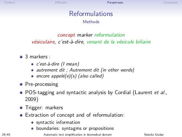 Context Difficulty Paraphrases Conclusion Reformulations Methods concept marker reformulation v´esiculaire, c'est-`a-dire, v...
