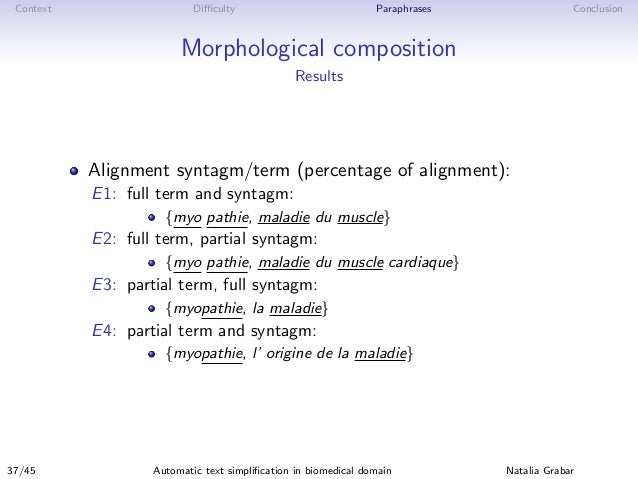 Context Difficulty Paraphrases Conclusion Morphological composition Results Alignment syntagm/term (percentage of alignment)...