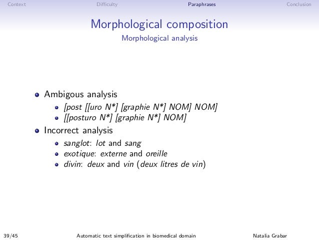 Context Difficulty Paraphrases Conclusion Morphological composition Morphological analysis Ambigous analysis [post [[uro N*]...