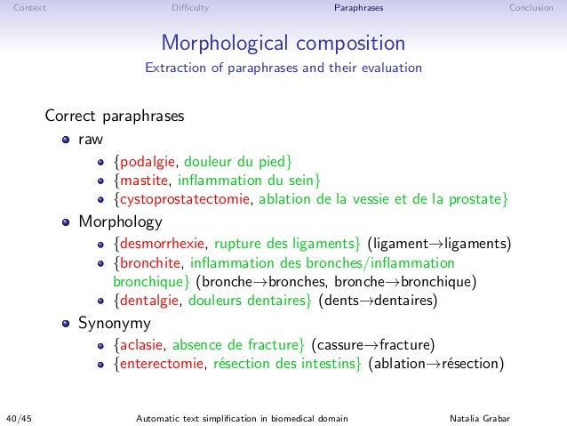 Context Difficulty Paraphrases Conclusion Morphological composition Extraction of paraphrases and their evaluation Correct p...