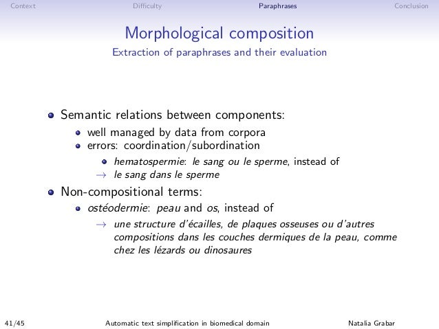 Context Difficulty Paraphrases Conclusion Morphological composition Extraction of paraphrases and their evaluation Semantic ...