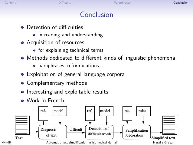 Context Difficulty Paraphrases Conclusion Conclusion Detection of difficulties in reading and understanding Acquisition of res...